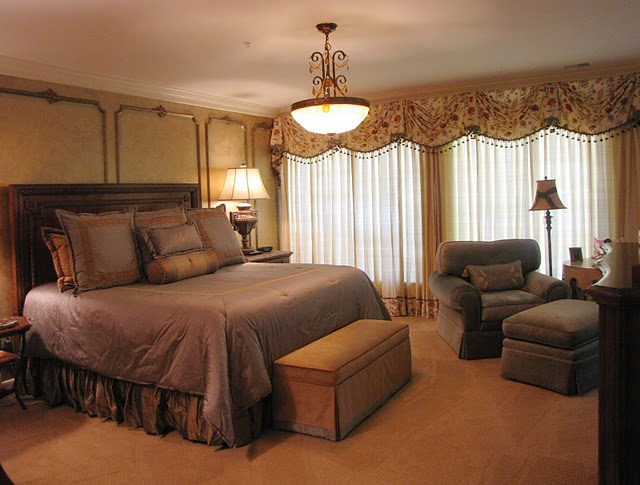 italian themed bedroom custom bedding and window treatments complete